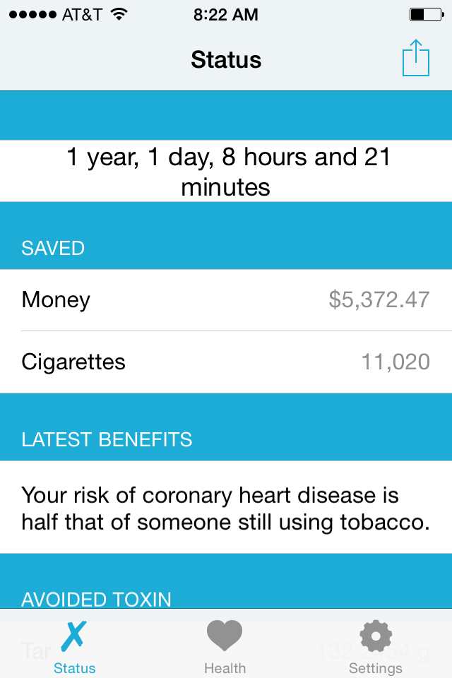 QuitIt app tracks my progress